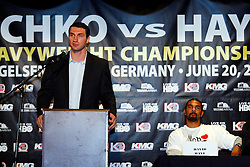 Apr 23, 2009; New York, NY, USA; IBF, WBO, IBO World Heavyweight Champion Wladimir Klitschko speaks at the press conference announcing his upcoming fight against David Haye (r).  The two will meet on June 20, 2009 at Veltins-Arena Soccer Stadium in Schalke, Germany.