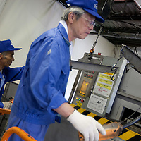 Hisao Kitawaki (on right of pic, 73 years old, in 8th year of working for Kato company) is an elderly worker at Kato (a light industry company) in Nakatsugawa, Japan, Monday 21st June 2010. Kato company has a workforce of 100 people, 50% of whom are 60 years of age or older. The elderly work force earn JPN ¥800-1,000 per hour, but receive no annual bonus or pay rise.