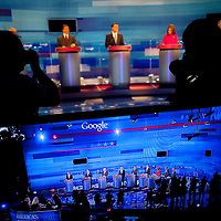 ORLANDO, FL -- September 22, 2011 -- The Republican presidential candidates chat during the Florida P5 Fox News / Google Debate at the Orange County Convention Center in Orlando, Fla., on Thursday, September 22, 2011.  Nine Republican presidential candidates congregated for a Fox News / Google Debate.   (Chip Litherland for The New York Times)