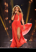 """Singer Beyonce performs on her """"Mrs. Carter Show World Tour 2013"""", on Friday, April 19, 2013 at the Slovnaft Arena in Bratislava, Slovakia . (Photo by Frank Micelotta/Invision for Parkwood Entertainment/AP Images."""