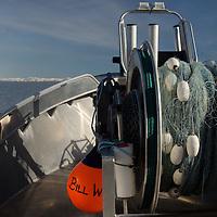 Drum Winch with Fishing Net at Copper River Delta, Cordova, Alaska, US