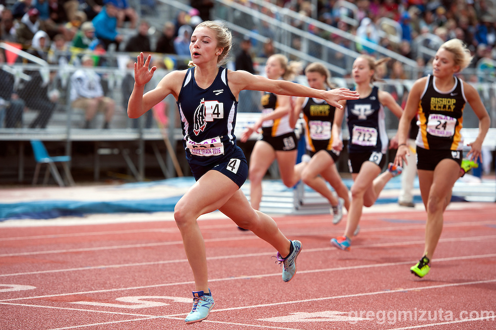 Pocatello sophomore Harlee Hales with a dominating win in the Idaho High School Track & Field State Championships 4A 200 meter dash at Dona Larson Park, Boise, Idaho. May 21, 2016. Hales finished with four golds, anchoring her team's 4x400 and 800 meter sprint relay teams to victory in addition to her 200 meter win and meet record setting 400 meter run (55.63).