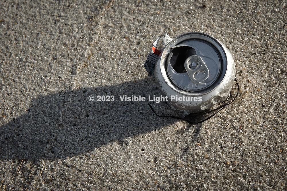 Soda can on the beach