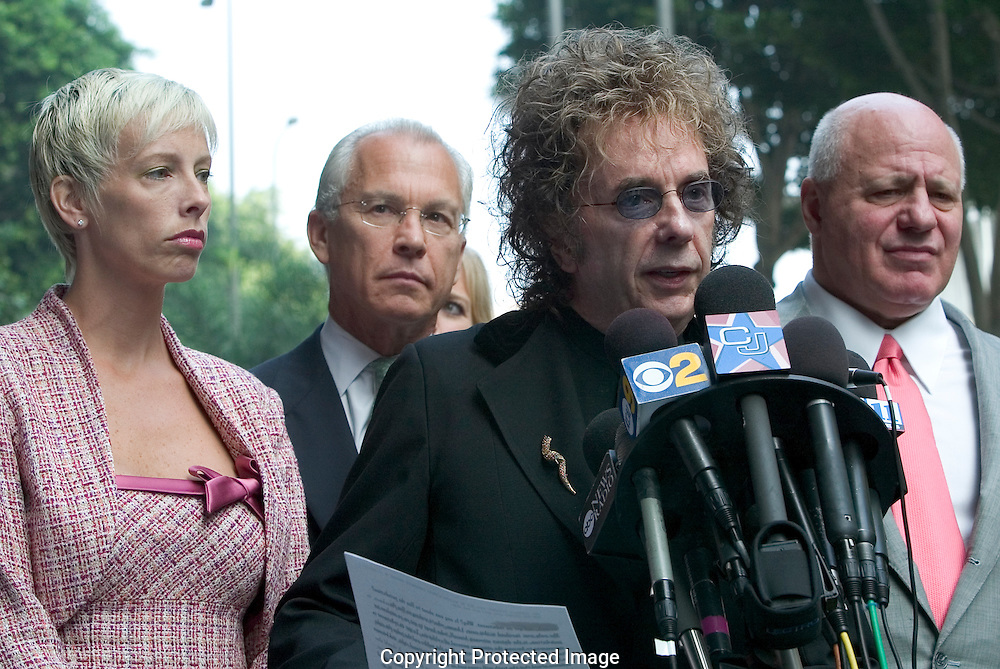 """Record Producer Phil Spector Indicted For Murder of movie actress and House of Blues hostess Lana Clarkson...Spector read a prepared statement professing his innocence of Clarkson's death...Spector, who was arrested soon after the shooting, claimed in an interview with Esquire magazine that Clarkson """"kissed the gun'' and killed herself. ..The 1989 Rock and Roll Hall of Fame inductee is best known for his layered """"Wall of Sound'' recording technique. He has worked with the Crystals, the Ronettes, the Ramones, Gene Pitney, the Righteous Brothers, Bruce Springsteen and the Beatles. ..He is free on 1 million dollar bond...9/27/04.Criminal Courts Bldg. Downtown, LA, CA USA."""