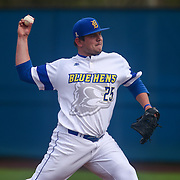 Delaware Pitcher Cole Benjamin (25) pitches during a regular season baseball game between Delaware and Saint Joseph's at Bob Hannah Stadium Tuesday April 19, 2016, in Newark.