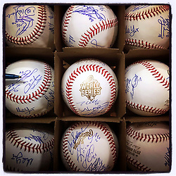 Kansas City Royals autographed team baseballs, 2015 World Series