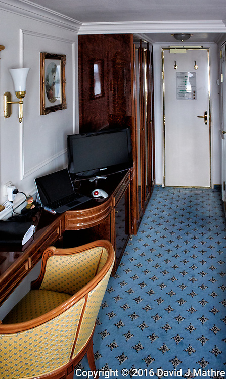 My new home -- Deck 8 cabin on the MV World Odyssey. Prior to departure from Ensenada, Mexico.  Image taken with a Nikon N1 V3 camera and 10-30 mm lens (ISO 800, 10 mm, f/4, 1/50 sec).