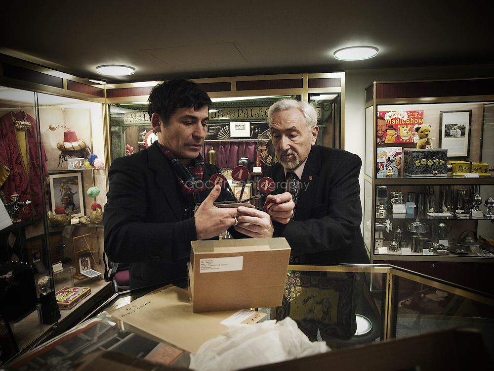 Magic Circle member Jonathan Allen (l) is an artist.  Here he is seen returning magical artefacts to the Museum Executive Curator Lionel Russell.  The items were used for Allen's Hayward Gallery touring exhibition 'Magic Show'.