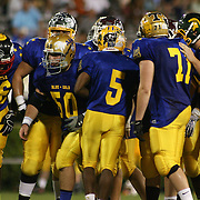 Blue squad breaks from the huddle in the fourth-quarter of the 58th Annual DFRC Blue-Gold All-Star Football game Saturday, June. 22, 2013, at Delaware Stadium in Newark DE.