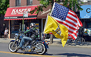 "American Flag and Flag ""Don't Tread On Me"" on Brooklyn's street."