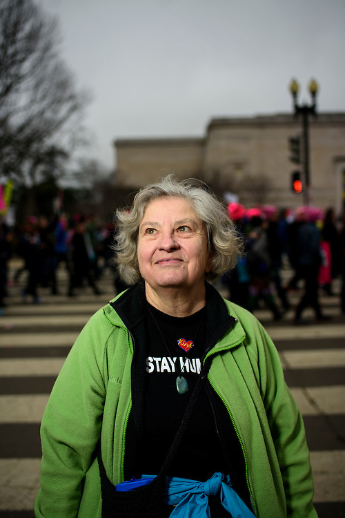 Washington, D.C. - January 21, 2017: Marilyn Lorenz, 70, Missouri.<br /> An estimated half a million people showed up to the nation's capital for the Women's March on Washington Saturday January 21, 2106.<br /> <br /> <br /> CREDIT: Matt Roth for Buzzfeed