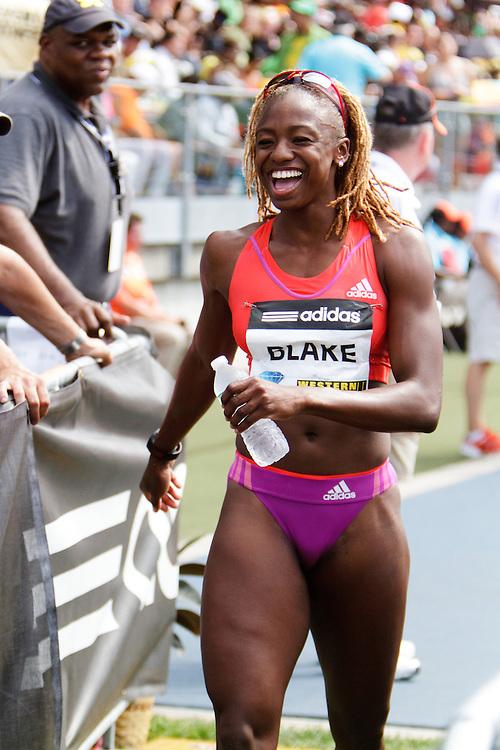 Samsung Diamond League adidas Grand Prix track & field; women's 800 meters, post race, Dominque Blake, JAM