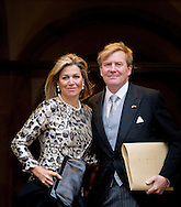 14-1-2015 AMSTERDAM - Queen Máxima and King Willem Alexander arrive at the Palace at the Dam for the new year reception corps diplomatic . COPYRIGHT ROBIN UTRECHT