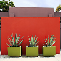 Warm welcome to a Mexican home with abundance of colors in walls and plants. Photo shooting took place in a modern, minimalistically decorated beachfront home in exotic small town of Los Barriles, Baja California Sur, Mexico. Home decoration is comprised of different color selections, each used with careful combination of details and accompanying furniture, plants and other decorative elements. Prevailing colors are white, red and striking turquoise blue. Here we are showing photographs from 2 parts of this home; guest bedroom and inner patio, where magnificent red wall with agavas welcomes you upon arrival. And if you are lucky enough to get an invite to stay in the house over night, you will enjoy a beautiful bedroom, with minimal decoration, but very attractive, relaxed and Mexican, but in a contemporary way.