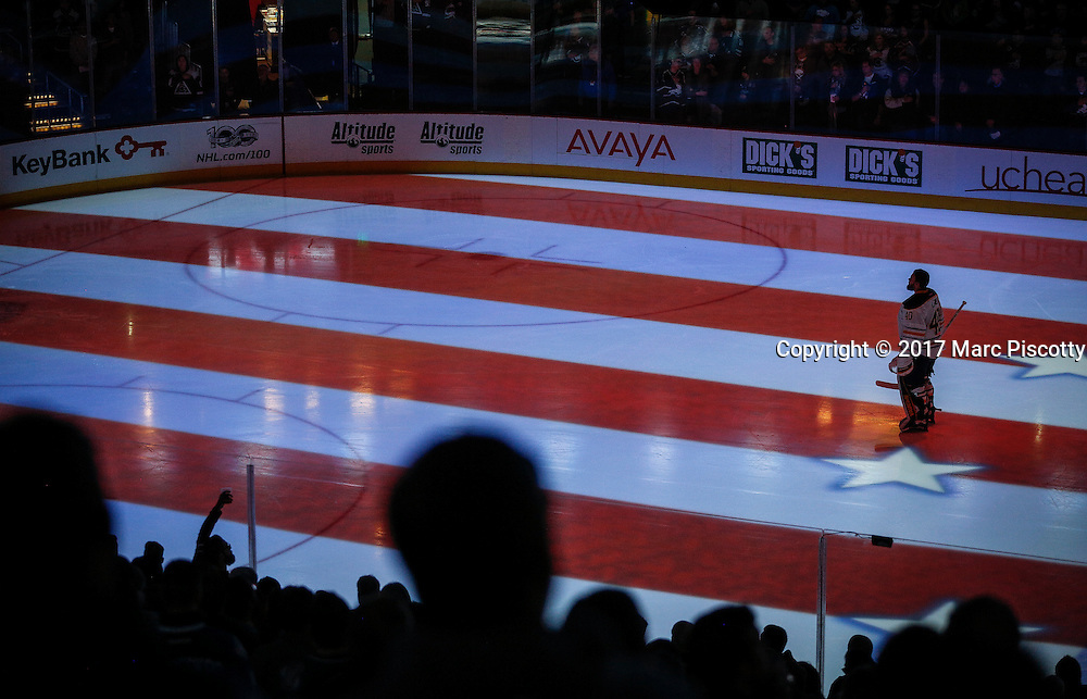 SHOT 2/25/17 8:59:21 PM - Buffalo Sabres goalie Robin Lehner #40 stands for the National Anthem before playing against the Colorado Avalanche during their NHL regular season game at the Pepsi Center in Denver, Co. The Avalanche won the game 5-3. (Photo by Marc Piscotty / © 2017)