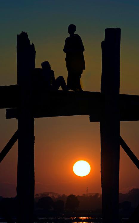 The bridge at sunset U-Bien in Myanmar.