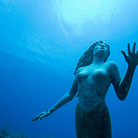 Cayman Islands, Grand Cayman Island, Underwater view mermaid sculpture in shallow coral reefs in Caribbean Sea