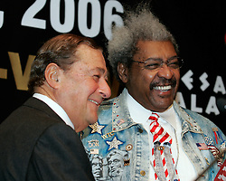 Co-promoters Bob Arum (l) and Don King (r) at the press conference announcing the upcoming fight between IBF Welterweight Champion Zab Judah and Floyd Mayweather.  The fight will take place on April 8, 2006 in Las Vegas.