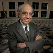 Jeremy Siegel is the Russell E. Palmer Professor of Finance at the Wharton School of the University of Pennsylvania, stands near his office Wednesday, April 13, 2005.(Photograph by Jim Graham)