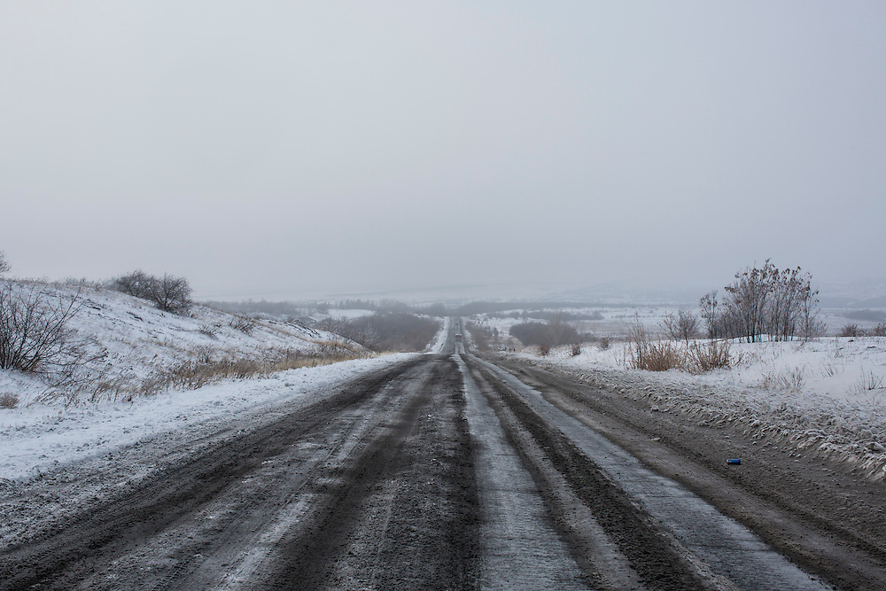 IVANIVKA, UKRAINE - DECEMBER 8, 2014: The road between Donetsk and Luhansk in Ivanivka, Ukraine. CREDIT: Brendan Hoffman for The New York Times