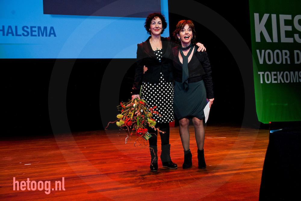 nedrland,utrecht 05feb2011 Femke Halsema nam afscheid als fractievoorzitter van groenlinks , hier samen met de nieuwe fractie voorzitter Jolande Sap