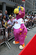 "Cleveland Indian mascot ""Slider"" at the Major League Baseball All-Stars and 49 Hall of Famers ride up Sixth Avenue in All Star-Game Red Carpet Parade Presented by Chevy on July 15, 2008"