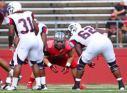 Sept 8, 2012; Piscataway, NJ, USA; Rutgers Scarlet Knights defensive tackle Scott Vallone (94) during the first half at High Point Solutions Stadium.