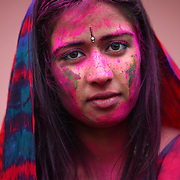 Preeti Rai is splashed with color during a Holi festival at the Sanatan Dharma Hindu Temple and Cultural Center in Maple Valley on Saturday, March 10, 2012. Holi, the Festival of Colors, is a Hindu festival welcoming spring. It is most well-known for the vibrant bursts of gulal, the powdered dye, that festivalgoers throw on each other. (Joshua Trujillo, seattlepi.com)