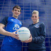 Football-Barclays Player Appearance-Finch Farm-07/05/2015-Pictures by Paul Currie-Pictures show Poppy Comer who is an apprentice with Everton in the Community and her family with Everton's Leighton Baines