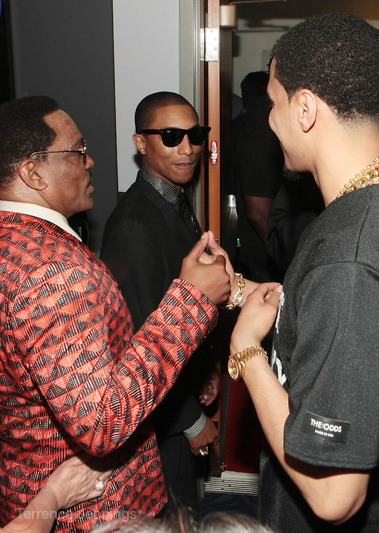 Los Angeles, CA-June 30:  (L-R) Recording Artists Charlie Wilson, Pharrell and J Cole backstage at the 2013 BET Awards Winners's Room Inside held at LA Live on June 30, 2013 in Los Angeles, CA. ©Terrence Jennings/Retna, Ltd