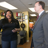 "02/03/11Middletown DE: Delaware Governor Jack Markell ""Right"" chats with Xanadu Salon owner Andrea Patterson ""Left""while visiting local business Xanadu Salon in Middletown Delaware Thursday afternoon...Special to The News Journal/SAQUAN STIMPSON"