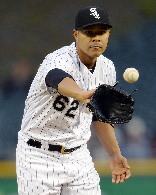 CHICAGO - APRIL 21:  Jose Quintana #62 of the Chicago White Sox pitches against the Cleveland Indians on April 21, 2017 at Guaranteed Rate Field in Chicago, Illinois.  (Photo by Ron Vesely)   Subject:  Jose Quintana