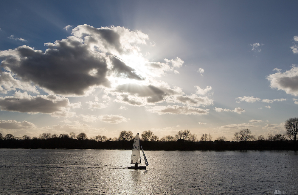 Sailing boat on the River Thames in London, in February