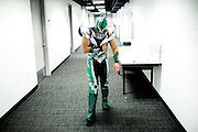 Lucha Libre AAA wrestler Laredo Kid walks back to his dressing room after being injured in San Jose, CA March 29, 2009.