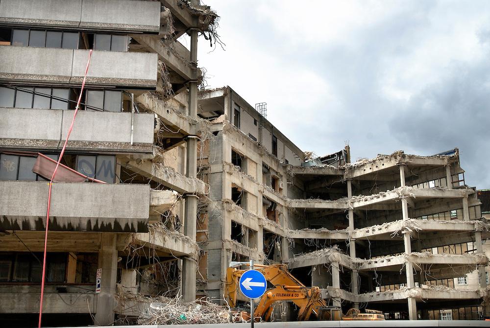 UK. London. Demolition of a building in Waterloo..