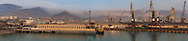 A panorama of the mist cascading down quarried hillside above the Black Sea settlement of Novorossiysk.