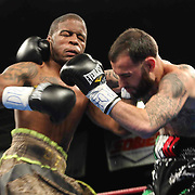 Lightweight boxing pro Joltin Joey Tiberi of Wilmington Delaware (R) in action during champs at the chase against Lightweight boxing pro Antoine Knight (L) Friday, Nov 21, 2014 at The Case Center on The River Front in Wilmington, Del.