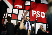 Jose Luis Rodriguez Zapatero celebrates the victory of the Socialist Party in the Spanish Election, at the Head Quarters of the Socialist Party in Ferraz, Madrid, Spain, on Sunday, March. 9, 2008.