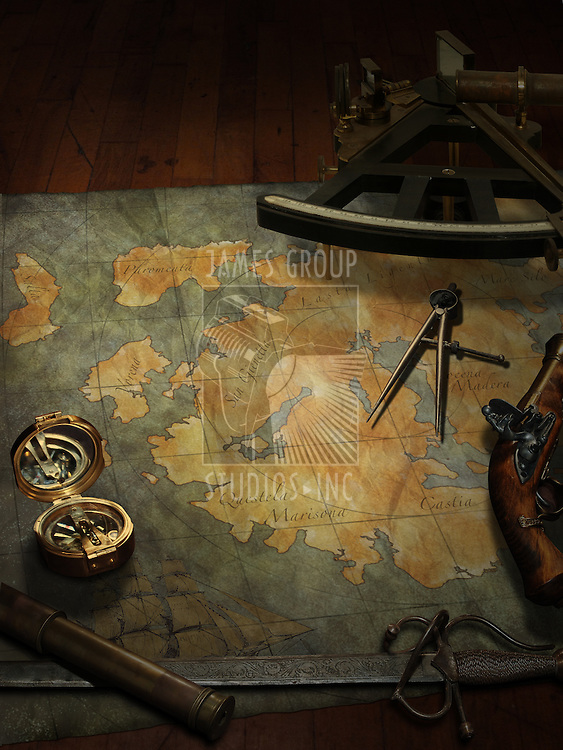 treasure map with nautical and pirate paraphernalia