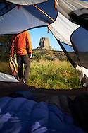 Camping at Devil's Tower National Monument, Black Hills Forest, Wyoming