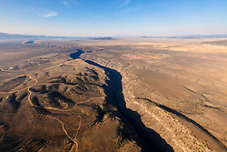 An aerial view of the Rio Grande Gorge.