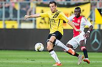 BREDA - NAC - Jong Ajax , Voetbal , Seizoen 2015/2016 , Jupiler league , Rat Verlegh Stadion , 21-08-2015 , NAC Breda speler Mats Seuntjens (l) in duel met Jong Ajax speler Leeroy Owusu (r)