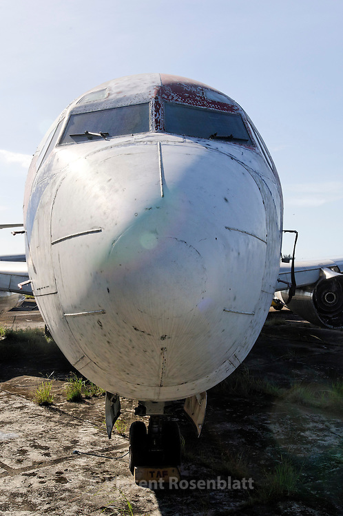 """Lufthansa  """"Landshut"""" Boeing  737-230 - Hijacked in 1977 (flight 181). From 1985 to  January 2008, was used by the Brazilian carrier TAF Linhas Aéreas under the registration PT-MTB. In 2010, """"Landshut"""" is parked with other wounded or retired aircrafts at Fortaleza's airport. ."""