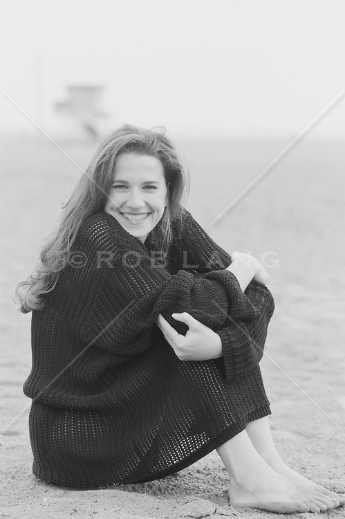 Woman enjoying  being on the beach in Santa Monica, CA