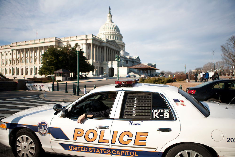A Capitol Police car is parked outside the U.S. Capitol before President Barack Obama's State of the Union address on Tuesday, January 24, 2012 in Washington, DC.