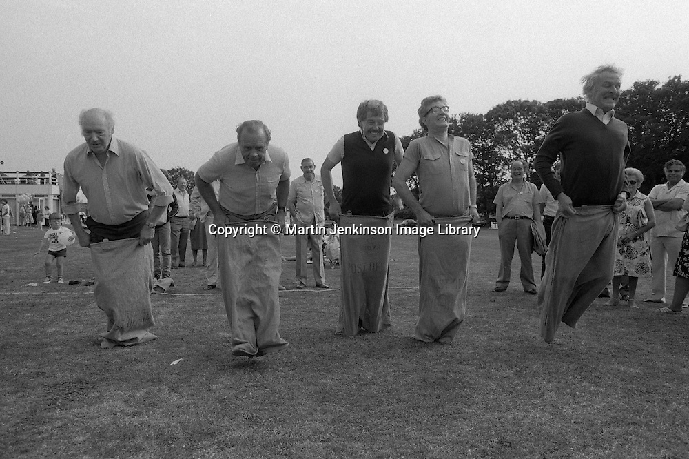 Four General Secretaries and a President take part in a sack race. L to r; Jimmy Knapp, NUR: Ron Todd, TGWU; Jack Taylor, Yorkshire NUM; Rodney Bickerstaffe, NUPE; peter Heathfield, NUM. SOGAT Gala Day for Miners Children. 01/09/1984.