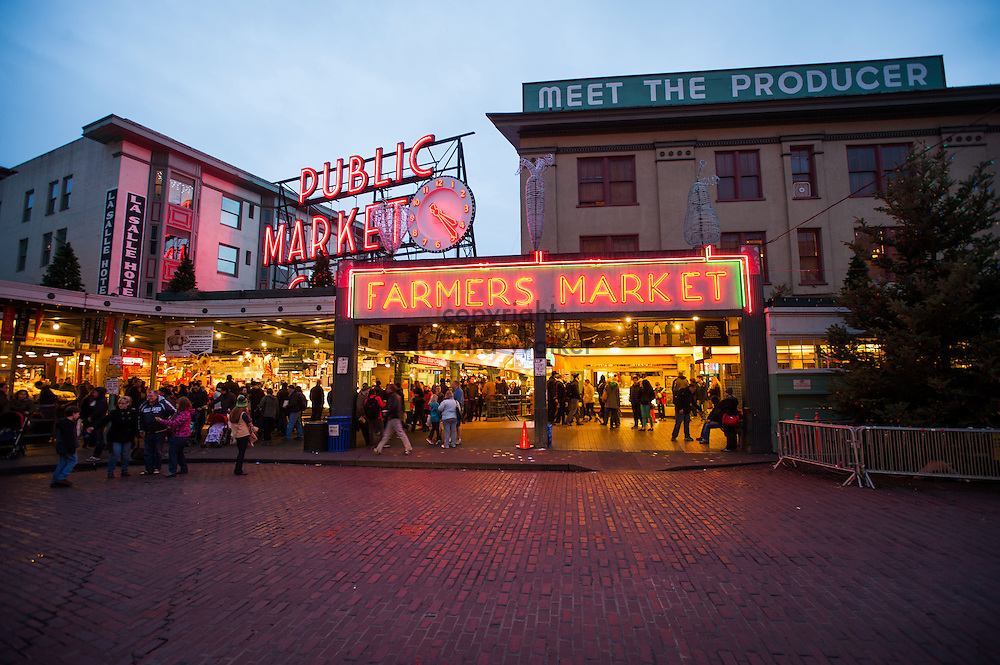 2014 January 02 - Pike Place Market at dusk, Seattle, WA. By Richard Walker
