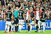 ROTTERDAM - Feyenoord - FC Utrecht , Voetbal , Seizoen 2015/2016 , Eredivisie , Stadion de Kuip , 08-08-2015 , Speler van Feyenoord Rick Karsdorp (r) krijgt rood van Scheidsrechter Kevin Blom