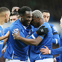 Everton's Romelu Lukaku celebrates scoring the 2nd goal with team mates during the Barclays Premier League match between Everton and Aston Villa played at Goodison Park on November 21st 2015