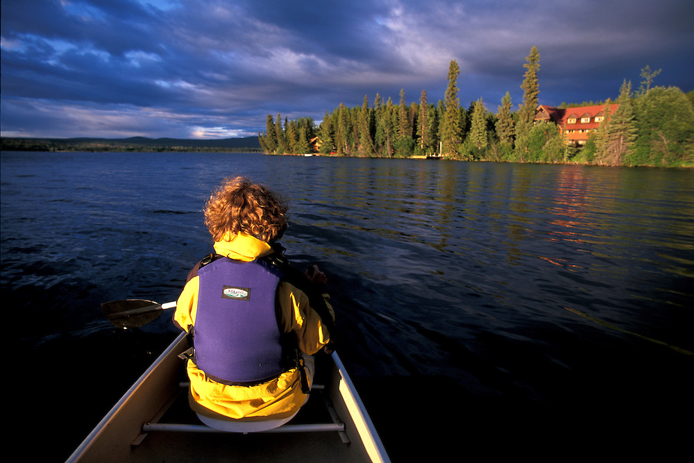 Canoeing on Clearwater Lake,.Chilcotin Country,.British Columbia, Canada